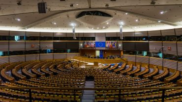 European parliament empty plenary room in Brussels, Belgium
